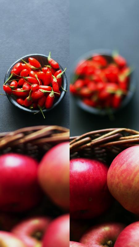 Collage aus Äpfeln und Gojibeeren für die Apfel-Gojibeeren-Marmelade