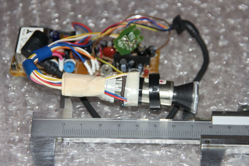 The tiny cathode ray tube from a camcorder viewfinder.