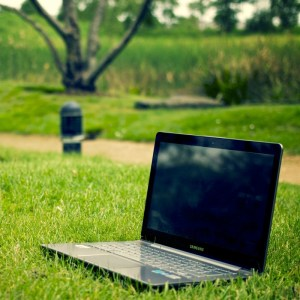 a laptop on grass