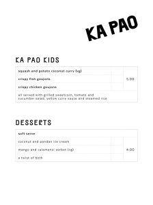 Ka Pao Glasgow Asian food menu