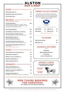 Alston bar and beef brunch menu