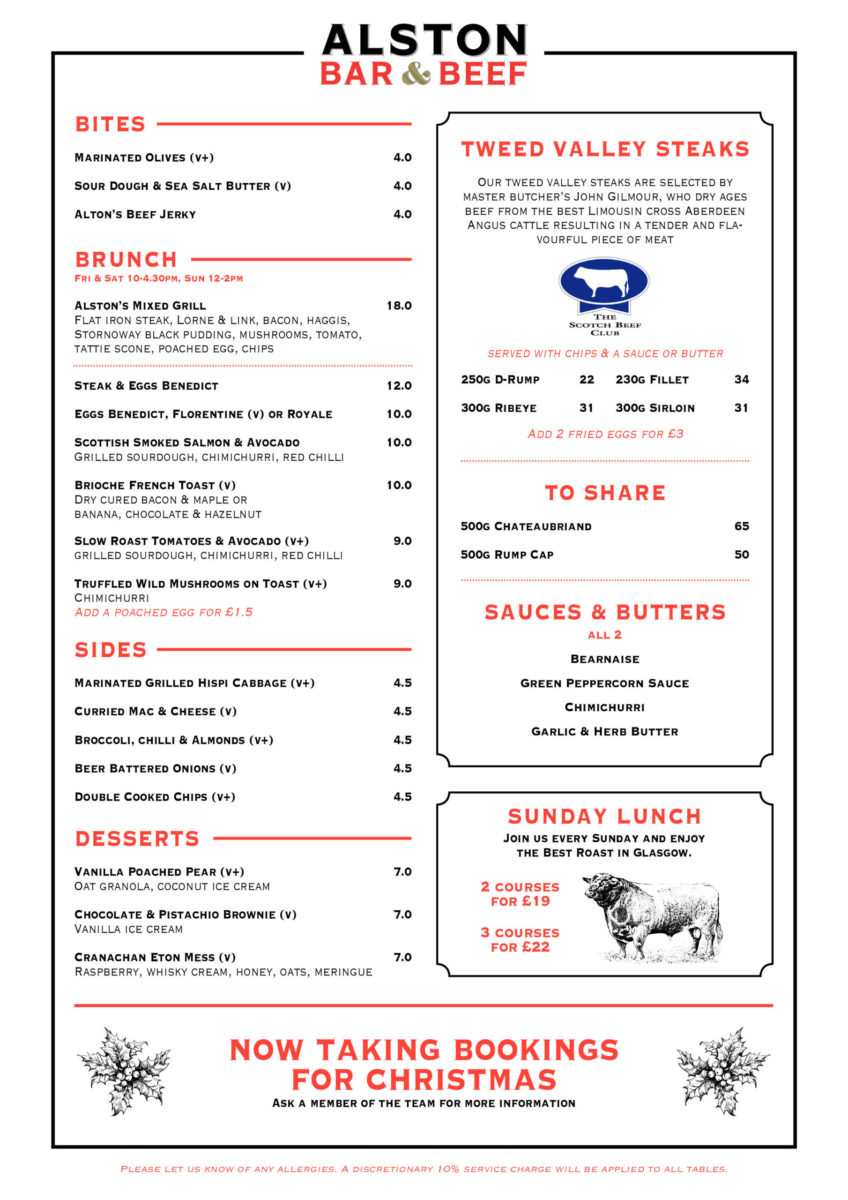 Alston bar and beef brunch menu