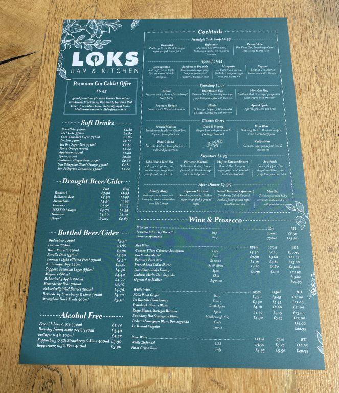 Drinks menu at Loks bar and kitchen shawlands
