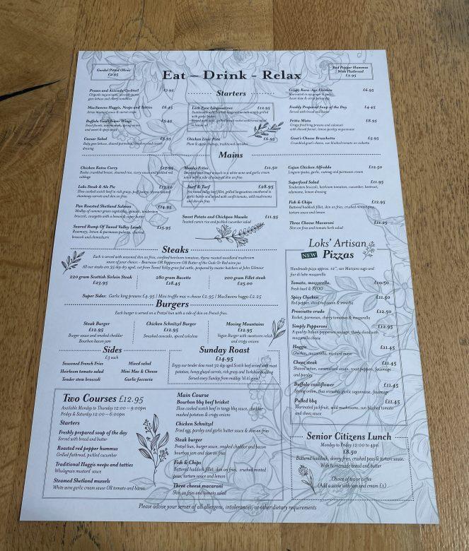 Food menu at Loks bar and kitchen shawlands