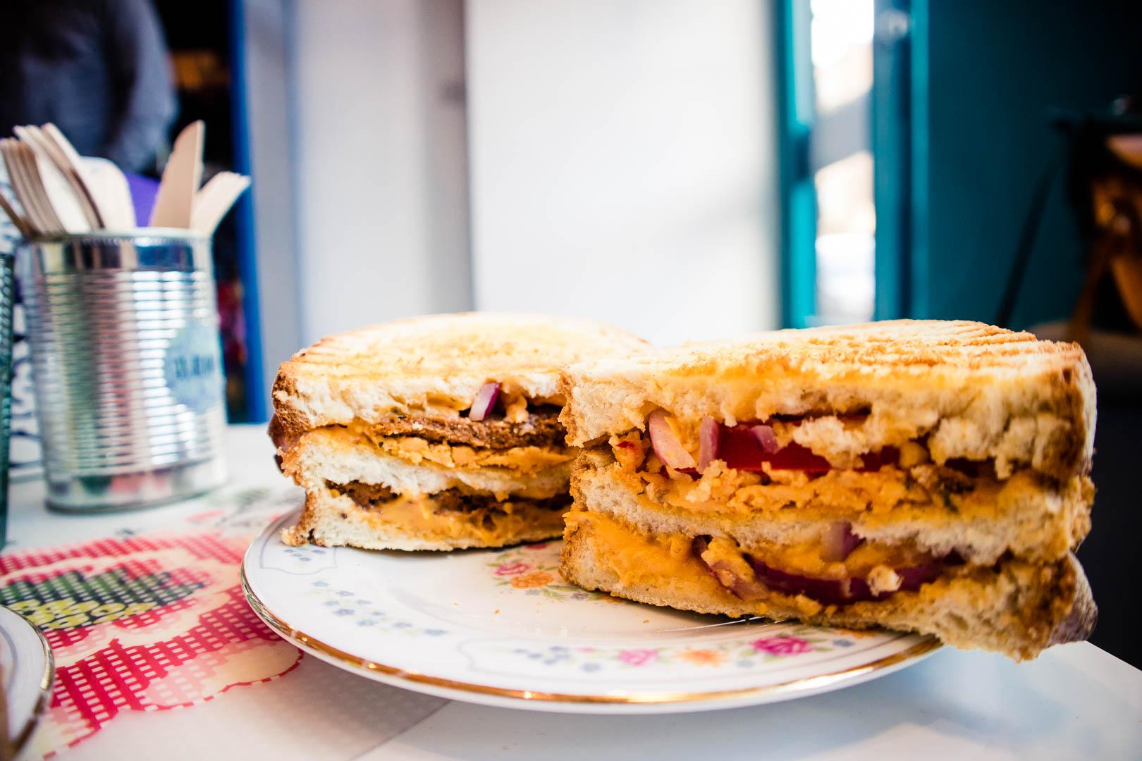 The Big Cheese Steak double decker sandwich at In Bloom Glasgow.