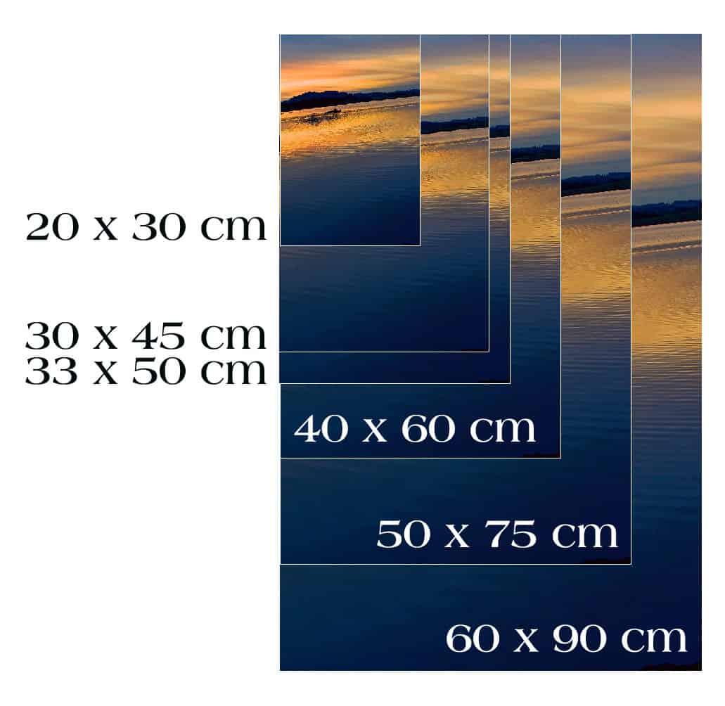 Auf dem Bild sind die Druckgrößen zu sehen, welche bei der Bestellung ausgewählt werden können.