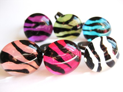 animal print glass rings