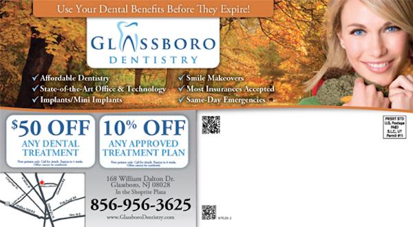 Glassboro Dentistry New Patient Specials Postcard Back
