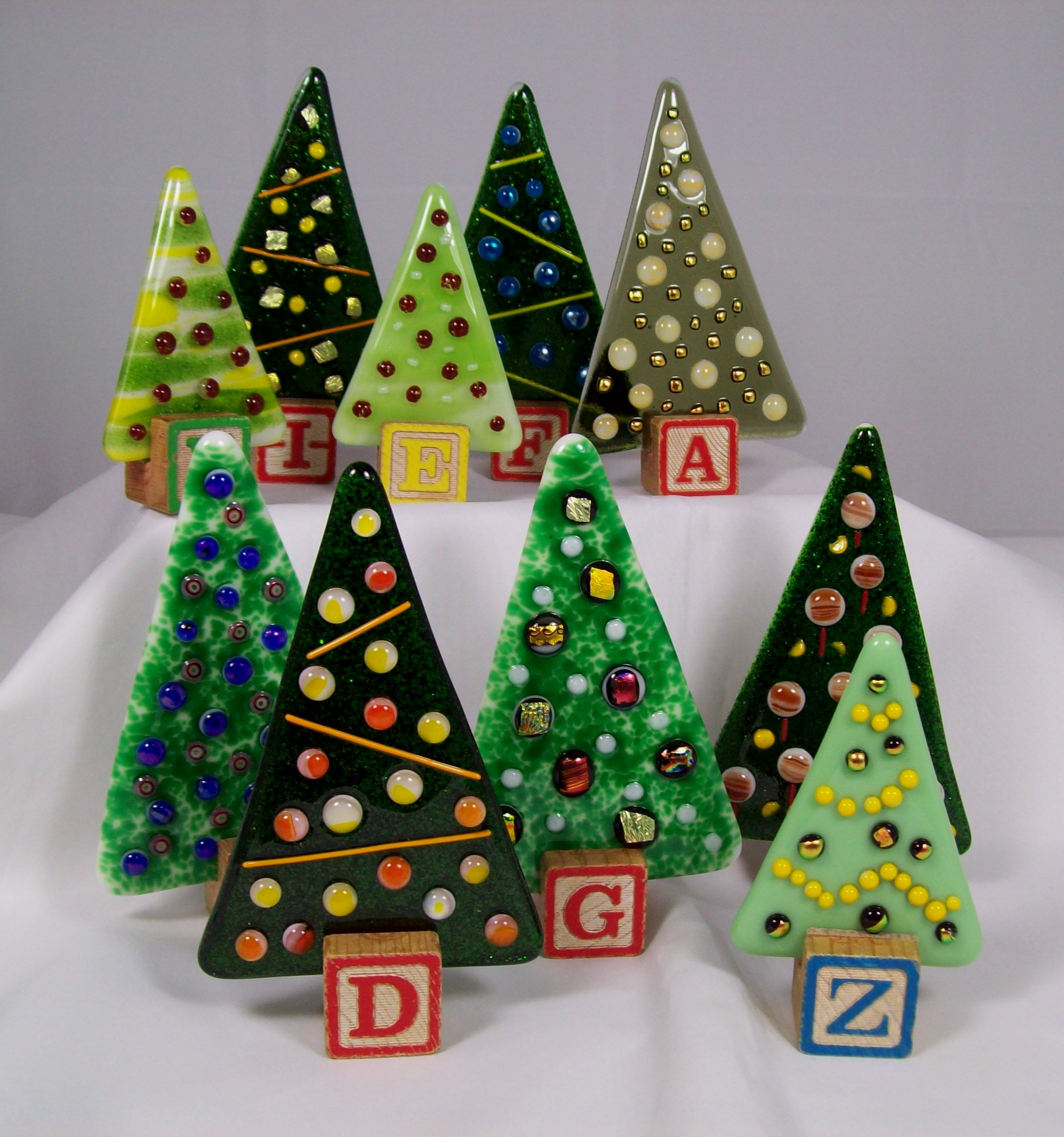 Fused Glass Christmas Trees Free Standing Ornaments