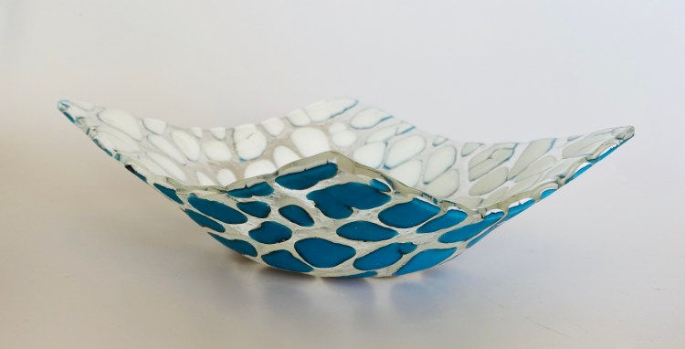 Glass By Tina Blue and white square bowl