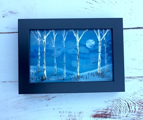 Framed hand-painted picture on fused glass of silver birches on blue moonlit background