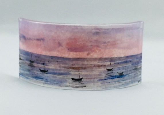 Mini fused glass panel of pinkish sunset on sea with boats