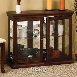 Curio Cabinet Console Table Glass Display Storage Shelf