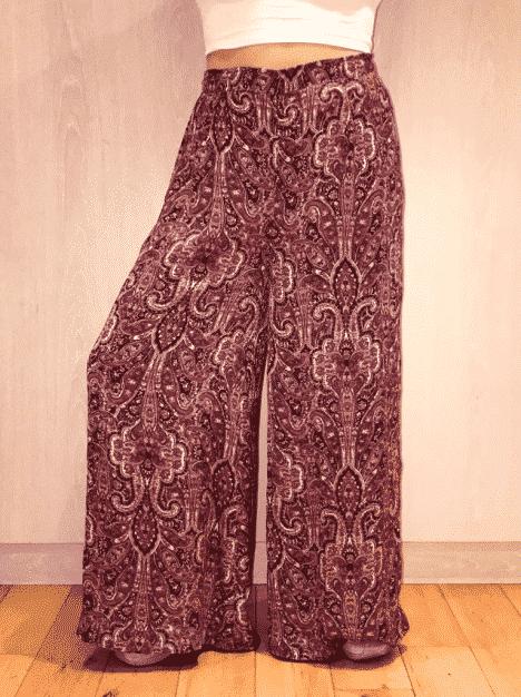 Purple Silk Flared Trousers