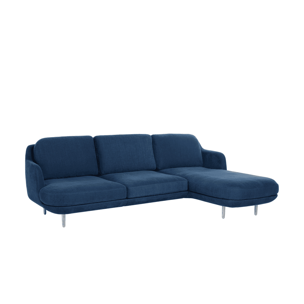fritz hansen lune 3 seater sofa with left chaise lounge