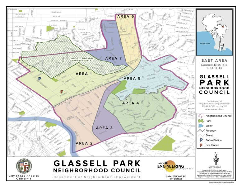 Map of Glassell Park and its 7 areas