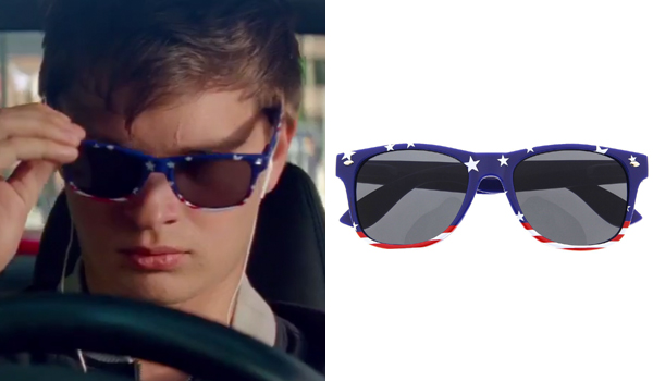 e8b6e41e9e The American flag sunglasses that Ansel Elgort wears in his Baby role in Baby  Driver are grinderPUNCH Captain Blue sunglasses with black lenses.