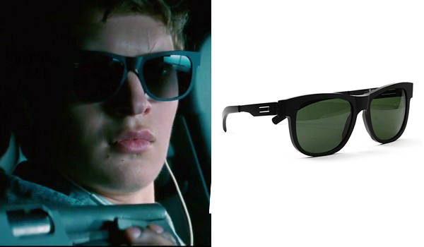 176efc7f2f The matte black sunglasses that Ansel Elgort wears in his Baby role in Baby  Driver are IC! BERLIN Fahrlehrer Klaus sunglasses with matte black frame  and ...