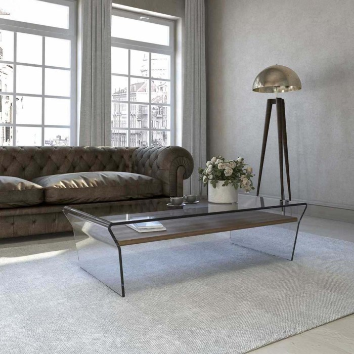 seven glass coffee table with shelf