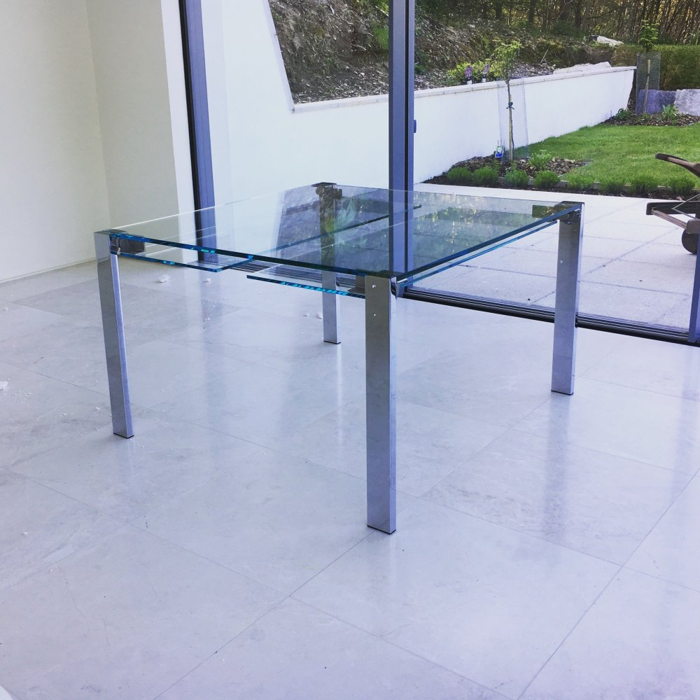 livingstone extending glass dining table
