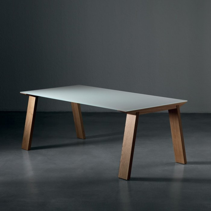 artu glass and wood dining table