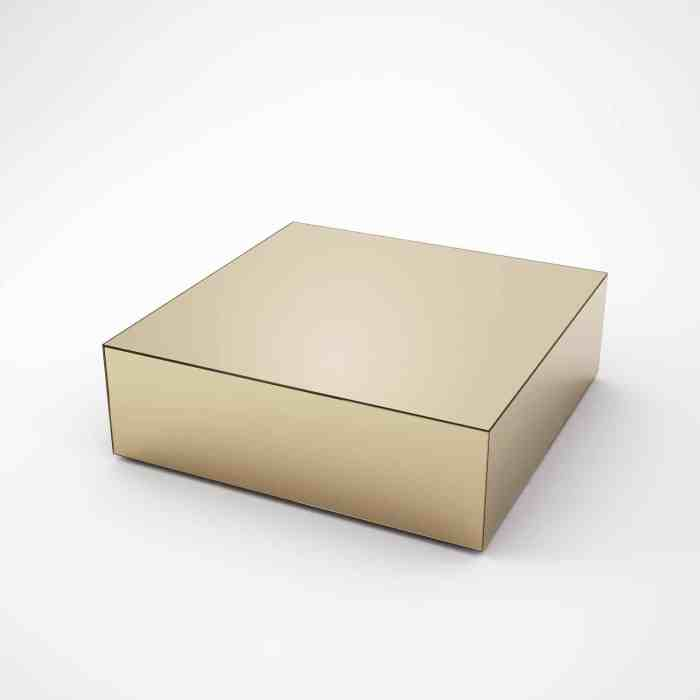square bronze coffee table