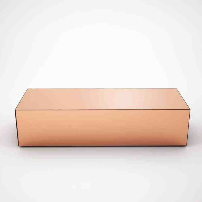 rectangular copper coffee table