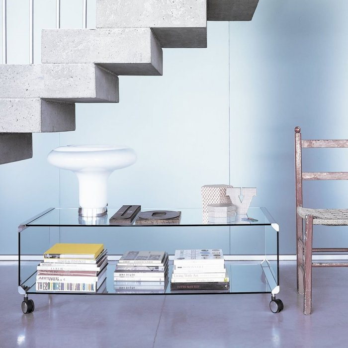 George 2 Glass and Metal Coffee Table with Castors by Gallotti & Radice