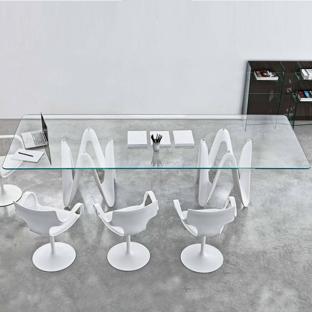 Glass Dining Furniture: Lambda Large Glass Dining Table