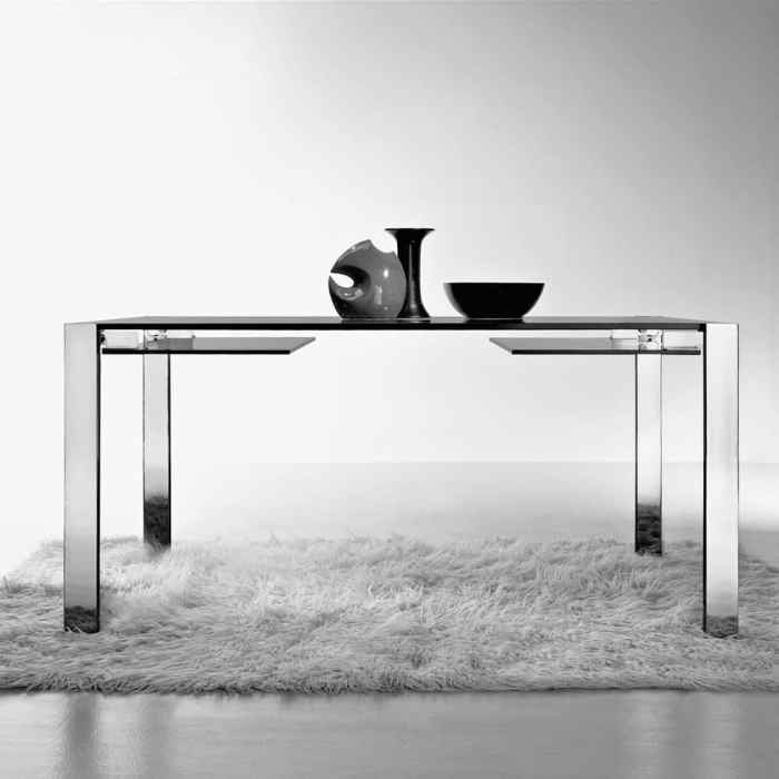 Livingstone Glass Dining Table by Tonelli Chrome with grey smoked glass