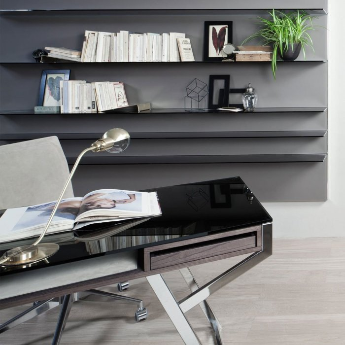 Lui Glass Desk with wood and metal frame by Gallotti & Radice