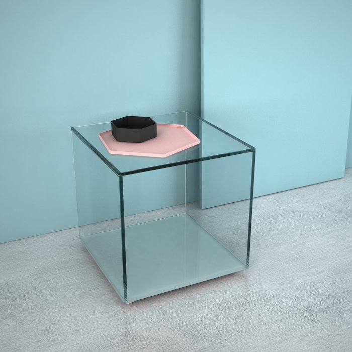 Quebec glass side table