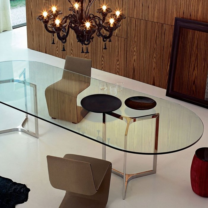 Raj Glass and Metal Table By Gallotti & Radice