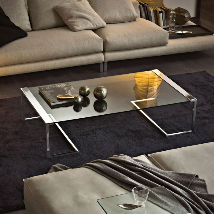 SirT32 Glass and Metal side table by Gallotti & Radice