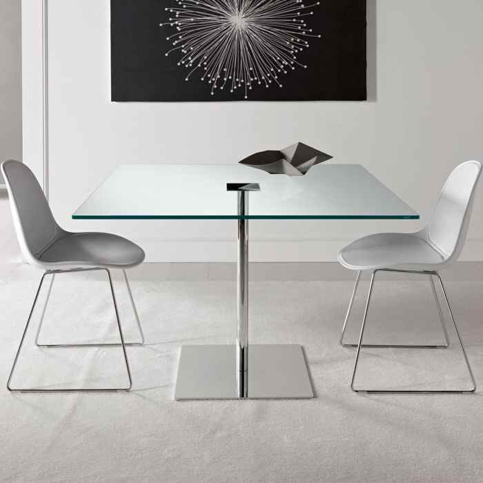 glass and metal dining table by tonelli