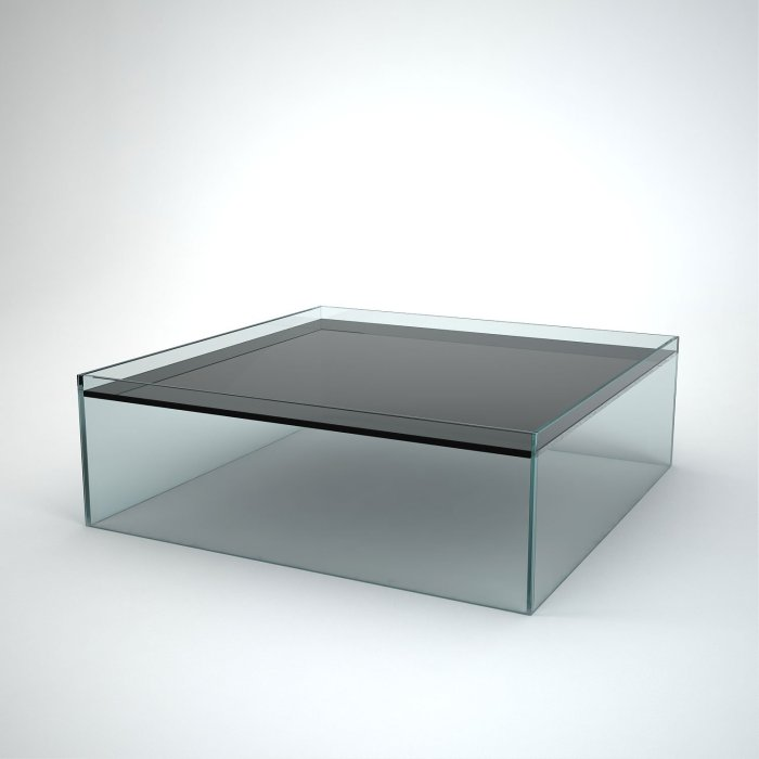 glass coffee table square - recess