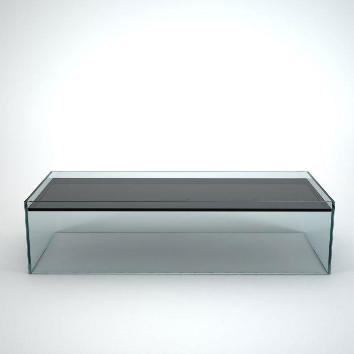 glass coffee table rectangular - recess