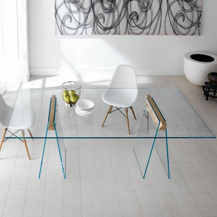 kasteel glass and wood dining table by tonelli