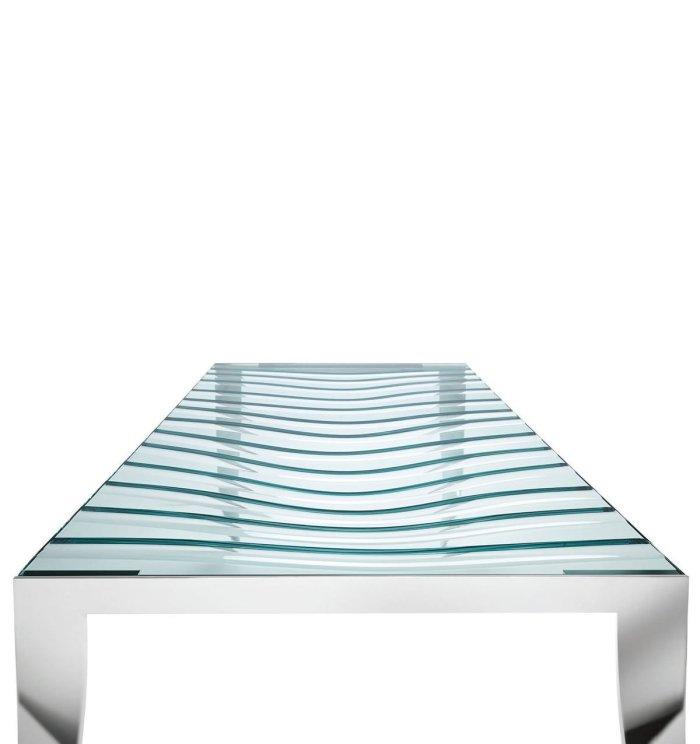 Tonelli luz de luna table - wave carve detail in glass table top