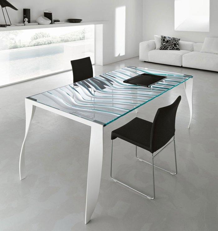 Tonelli luz de luna glass dining table white legs