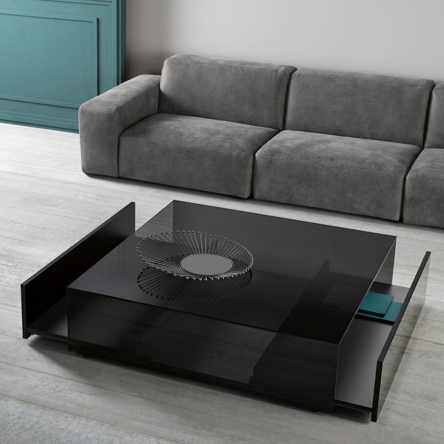 Ghotam Square Smoked Glass Coffee Table With 2 Drawers