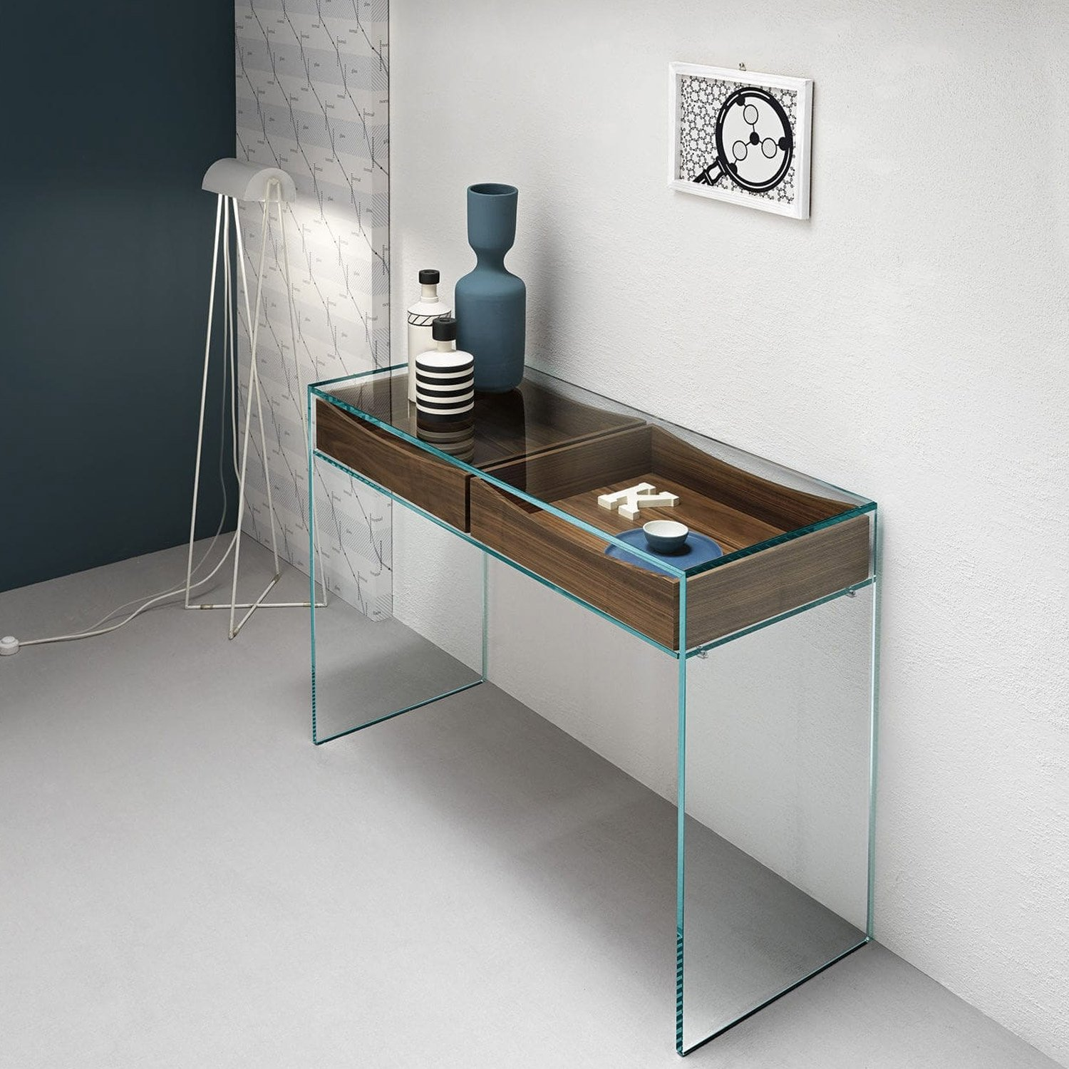 gulliver glass console table with shelf or drawers by tonelli klarity glass furniture. Black Bedroom Furniture Sets. Home Design Ideas