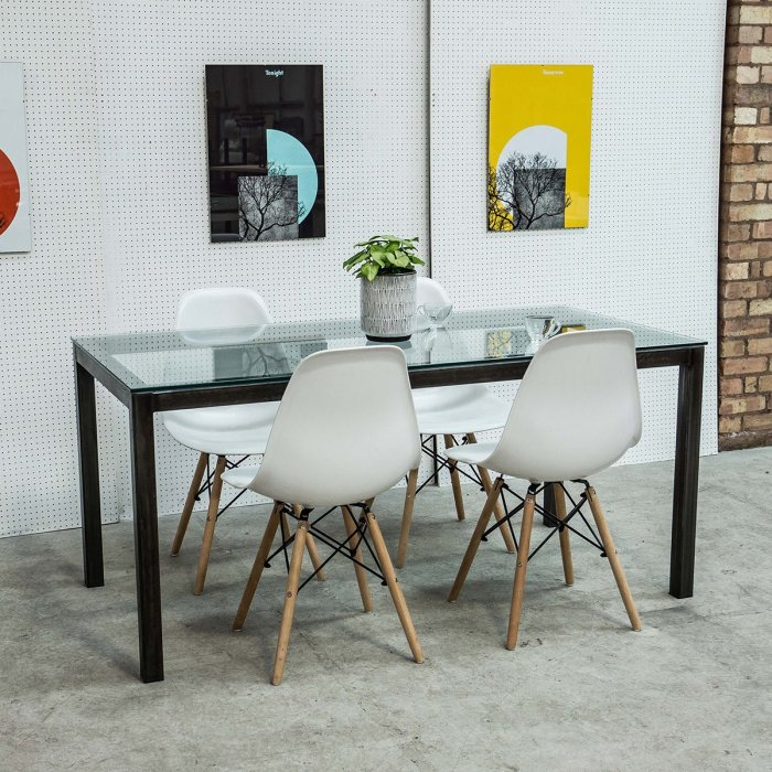 Industrial dining table with Glass Table