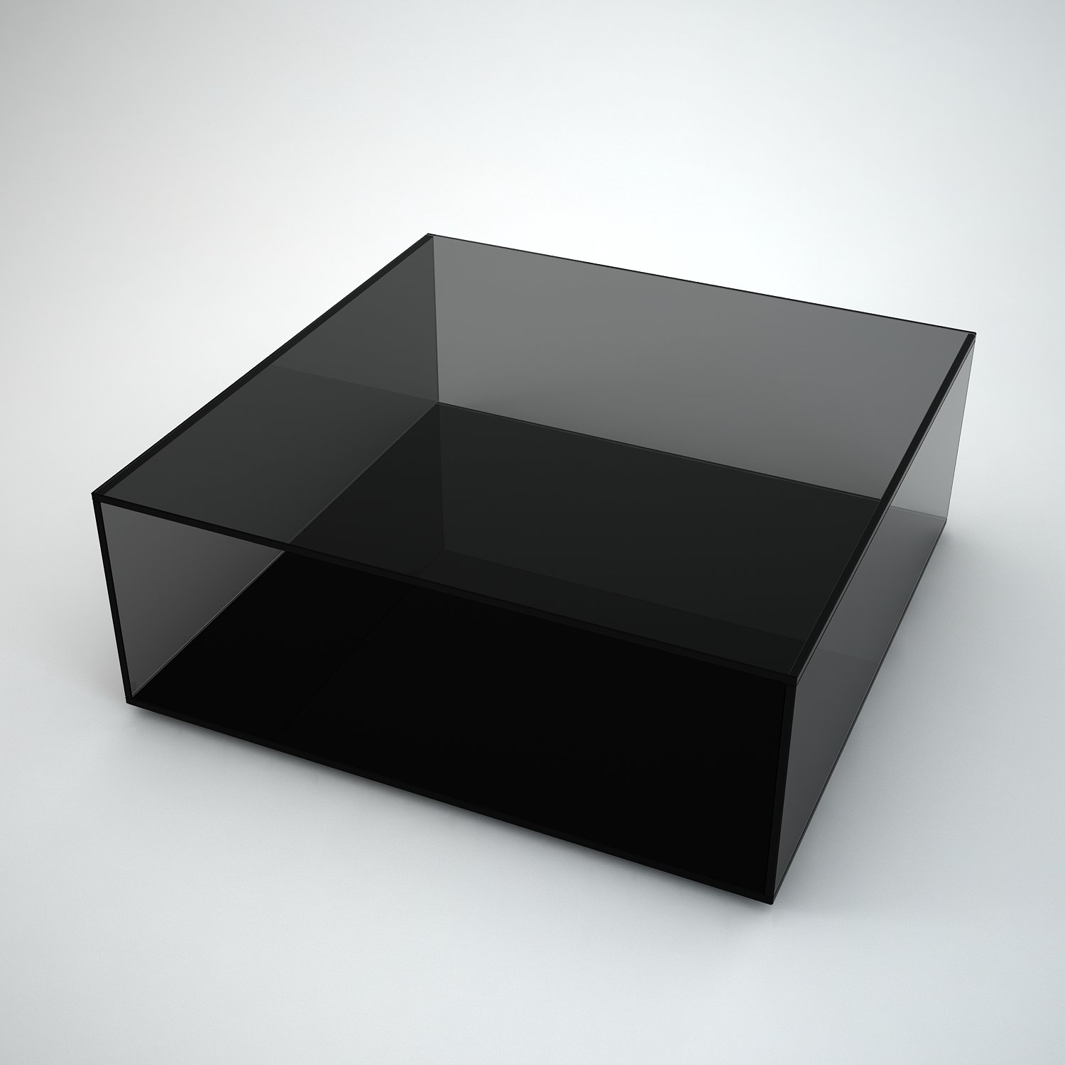 Quebec Square Grey Tint Glass Coffee Table By Klarity