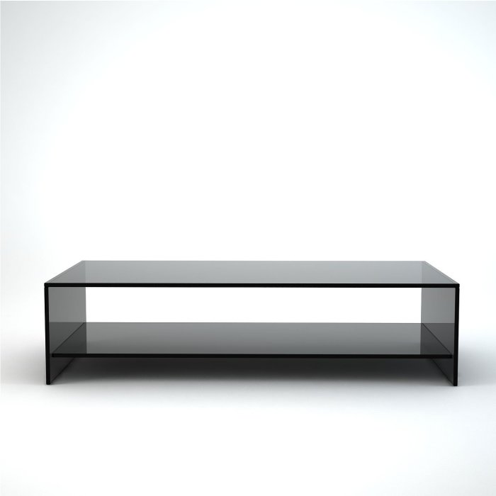 glass coffee table made from smoked glass