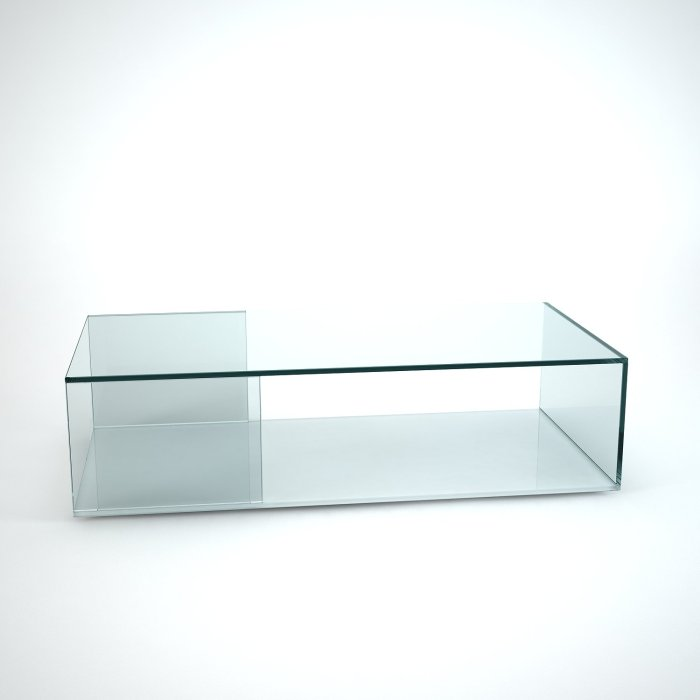 tifino glass coffee table with white base