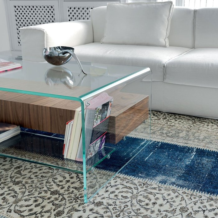 Bridge Glass Coffee Table with Drawer & Shelf by Sovet Italia