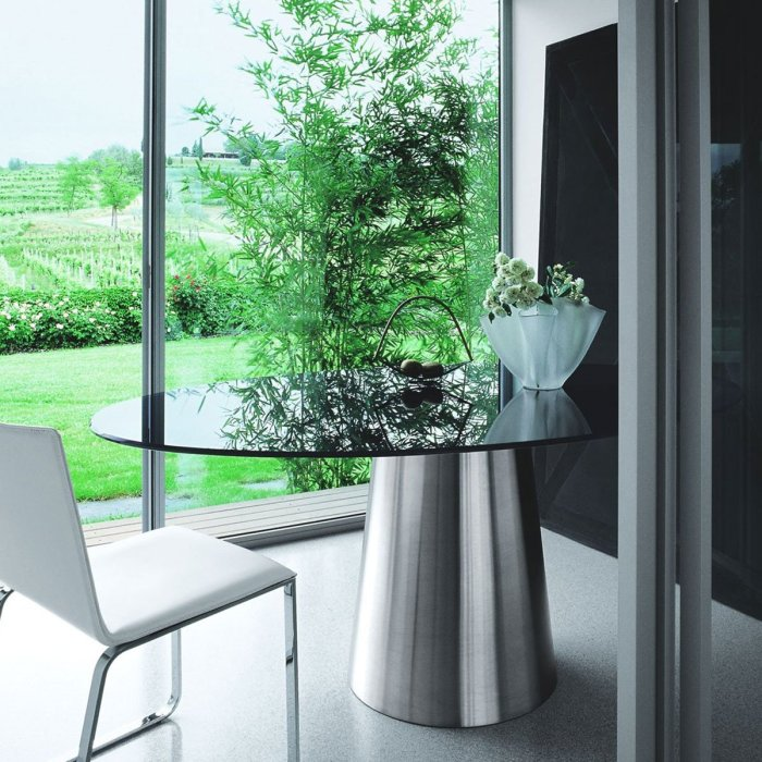 oval glass and metal table