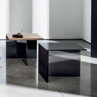 Regolo Square Glass and Wood Coffee Table - Klarity ...