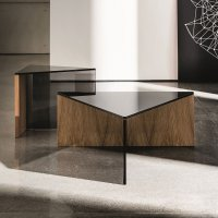 Regolo Triangular Glass and Wood Coffee Table - Klarity ...